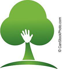 ロゴ, デザイン, 木, 手