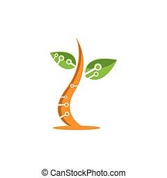 ロゴ, デザイン, 木, 技術
