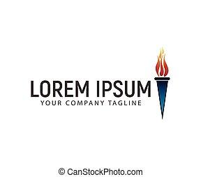 ロゴ, デザイン, 概念, トーチ, テンプレート