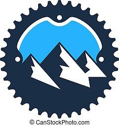 ロゴ, デザイン, 自転車, アイコン, 山