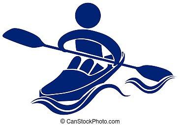 ロゴ, デザイン, 青, カヤックを漕ぐ