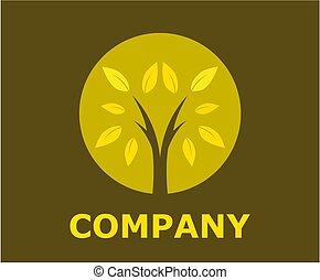 ロゴ, デザイン, 4, 木