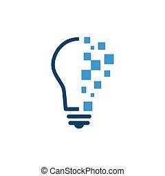 ロゴ, デジタル, 概念, 解決, デザイン, ベクトル, 技術, lightbulb