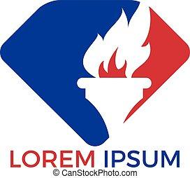 ロゴ, トーチ, 炎, design.