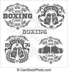 ロゴ, バッジ, 紋章, style., ボクシング, 灰色, セット, 設計された, ラベル, elements., ...
