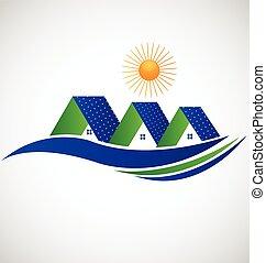 ロゴ, パネル, 太陽, 家
