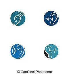 ロゴ, ヒアリング, ベクトル, セット, テンプレート, アイコン