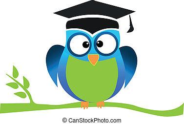 ロゴ, フクロウ, 卒業, かわいい