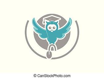 ロゴ, フクロウ, 教師, かわいい