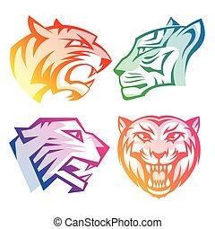 ロゴ, ヘッドホン, カラフルである, 虹, tiger, 背景, gradients, 白