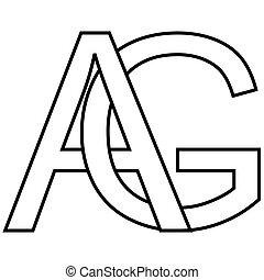 ロゴ, ベクトル, アイコン, 2, 最初に, アルファベット, 手紙, a, ag, 織り交ぜられる, g,...