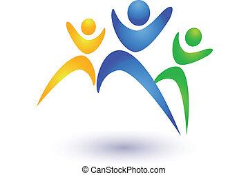 ロゴ, ベクトル, グループ, ビジネス 人々