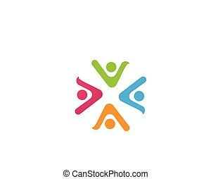 ロゴ, ベクトル, グループ, 共同体, 人々