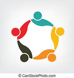 ロゴ, ベクトル, グループ, 家族, 5