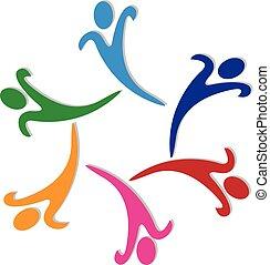ロゴ, ベクトル, グループ, 幸せ, チームワーク