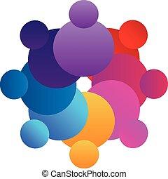 ロゴ, ベクトル, チームワーク, カラフルである