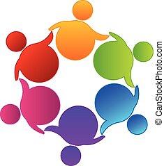 ロゴ, ベクトル, チームワーク, ビジネス