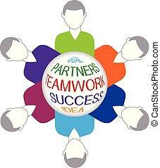ロゴ, ベクトル, チームワーク, ビジネス 人々