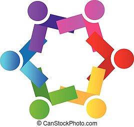 ロゴ, ベクトル, チームワーク, 人々, アイコン