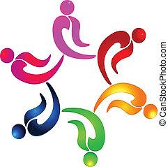 ロゴ, ベクトル, チームワーク, 人々, パーティー
