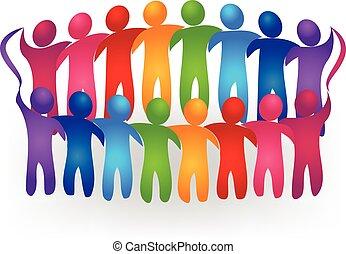 ロゴ, ベクトル, チームワーク, 人々, ミーティング