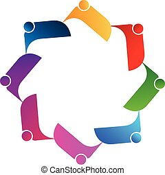 ロゴ, ベクトル, チームワーク, 人々