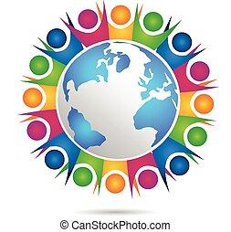 ロゴ, ベクトル, チームワーク, 幸せ, 人々