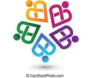 ロゴ, ベクトル, チームワーク, 心から