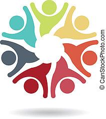 ロゴ, ベクトル, チームワーク, 楽天的である, 7
