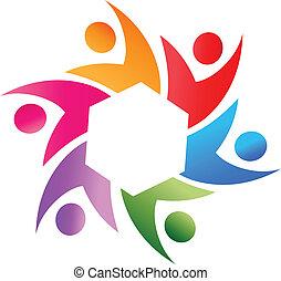 ロゴ, ベクトル, チームワーク, 社会