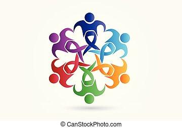 ロゴ, ベクトル, チームワーク, 認識, 人々