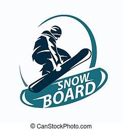 ロゴ, ベクトル, テンプレート, シンボル, ∥あるいは∥, snowboarding, シルエット, 紋章, 定型
