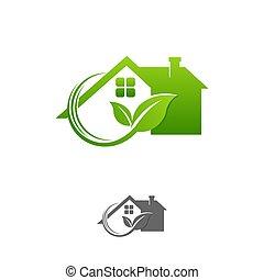 ロゴ, ベクトル, デザイン, テンプレート, eco, 緑は 去る, 家