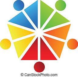 ロゴ, ベクトル, デザイン, 人々, チーム