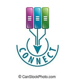 ロゴ, ベクトル, データ, 連結しなさい, サーバー