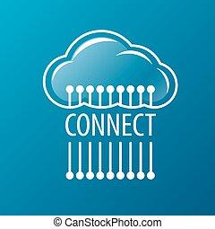 ロゴ, ベクトル, ネットワーク, 雲, 連結しなさい