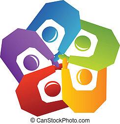 ロゴ, ベクトル, ハンドル, 人々, チームワーク