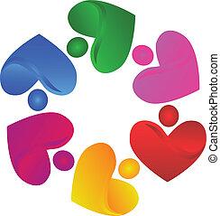 ロゴ, ベクトル, ハンドル, 心, チームワーク