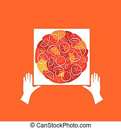 ロゴ, ベクトル, ピザ
