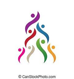 ロゴ, ベクトル, 人々, グループ, 円, 一緒, イラスト, カラフルである, シンボル, デザイン, 統一