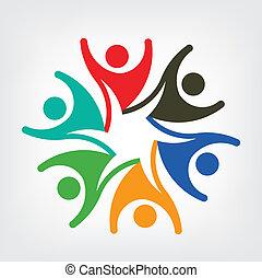 ロゴ, ベクトル, 人々, 幸せ, チーム
