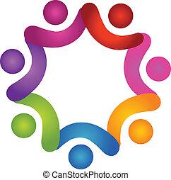 ロゴ, ベクトル, 多様性, チーム