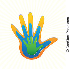 ロゴ, ベクトル, 家族, 保護, 手