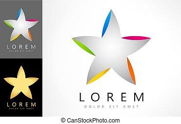 ロゴ, ベクトル, 形, 星