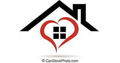 ロゴ, ベクトル, 心, 家