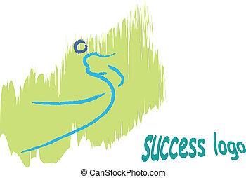 ロゴ, ベクトル, 成功, 人