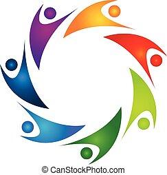 ロゴ, ベクトル, 支える, 人々, チームワーク