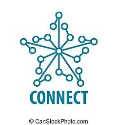 ロゴ, ベクトル, 星, ネットワーク, 連結しなさい