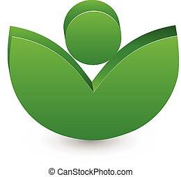 ロゴ, ベクトル, 有機体である, leafs, 新たに