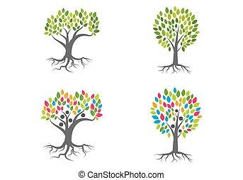 ロゴ, ベクトル, 木, 家族